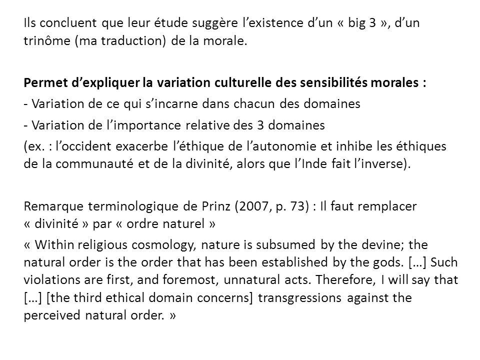 Ils concluent que leur étude suggère lexistence dun « big 3 », dun trinôme (ma traduction) de la morale. Permet dexpliquer la variation culturelle des
