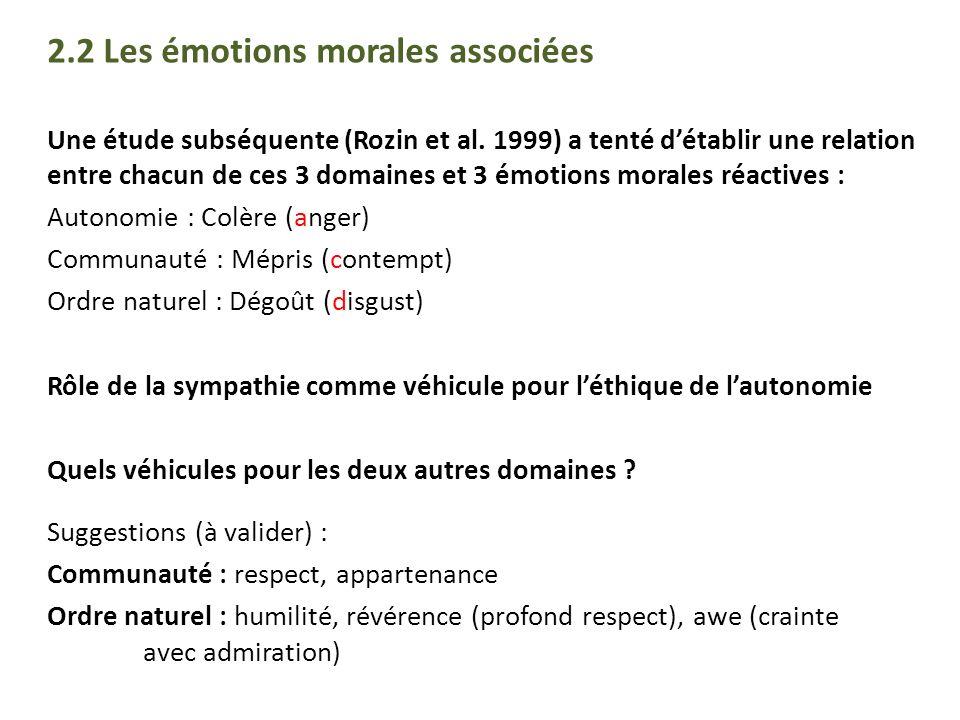 2.2 Les émotions morales associées Une étude subséquente (Rozin et al. 1999) a tenté détablir une relation entre chacun de ces 3 domaines et 3 émotion