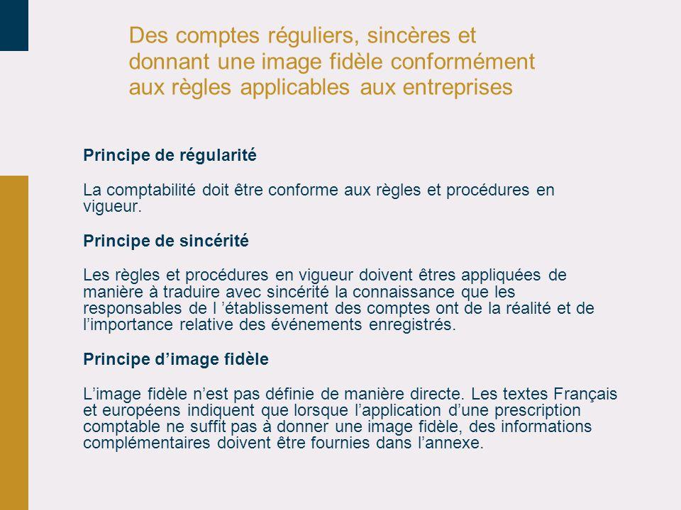 Des comptes réguliers, sincères et donnant une image fidèle conformément aux règles applicables aux entreprises Principe de régularité La comptabilité