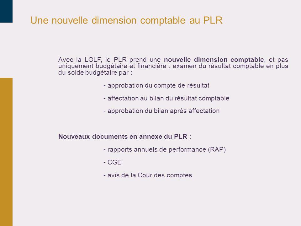 Une nouvelle dimension comptable au PLR Avec la LOLF, le PLR prend une nouvelle dimension comptable, et pas uniquement budgétaire et financière : exam