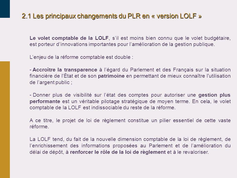 2.1 Les principaux changements du PLR en « version LOLF » Le volet comptable de la LOLF, sil est moins bien connu que le volet budgétaire, est porteur