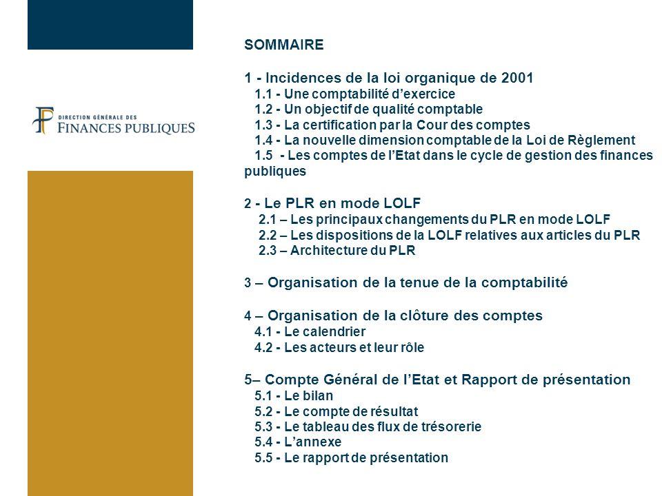 SOMMAIRE 1 - Incidences de la loi organique de 2001 1.1 - Une comptabilité dexercice 1.2 - Un objectif de qualité comptable 1.3 - La certification par