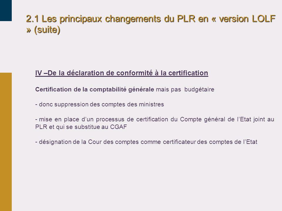 2.1 Les principaux changements du PLR en « version LOLF » (suite) IV –De la déclaration de conformité à la certification Certification de la comptabil