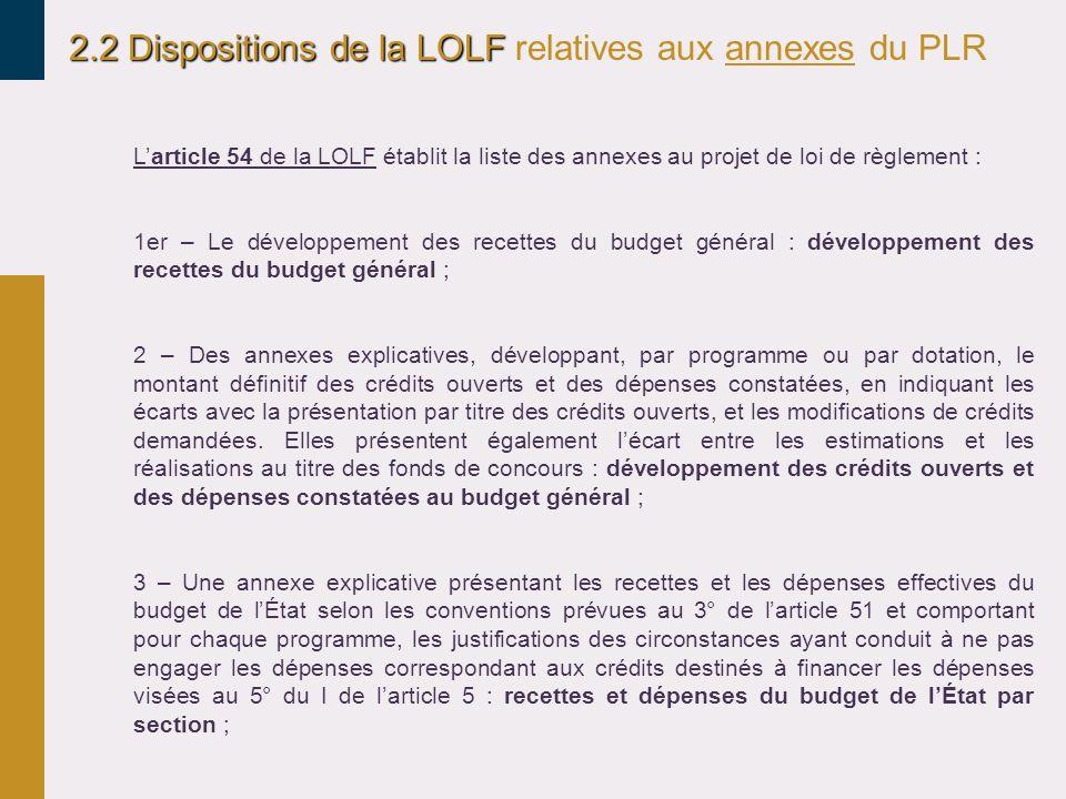2.2 Dispositions de la LOLF 2.2 Dispositions de la LOLF relatives aux annexes du PLR Larticle 54 de la LOLF établit la liste des annexes au projet de