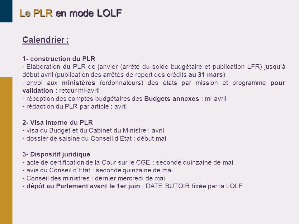 Le PLR en mode LOLF Calendrier : 1- construction du PLR - Elaboration du PLR de janvier (arrêté du solde budgétaire et publication LFR) jusquà début a
