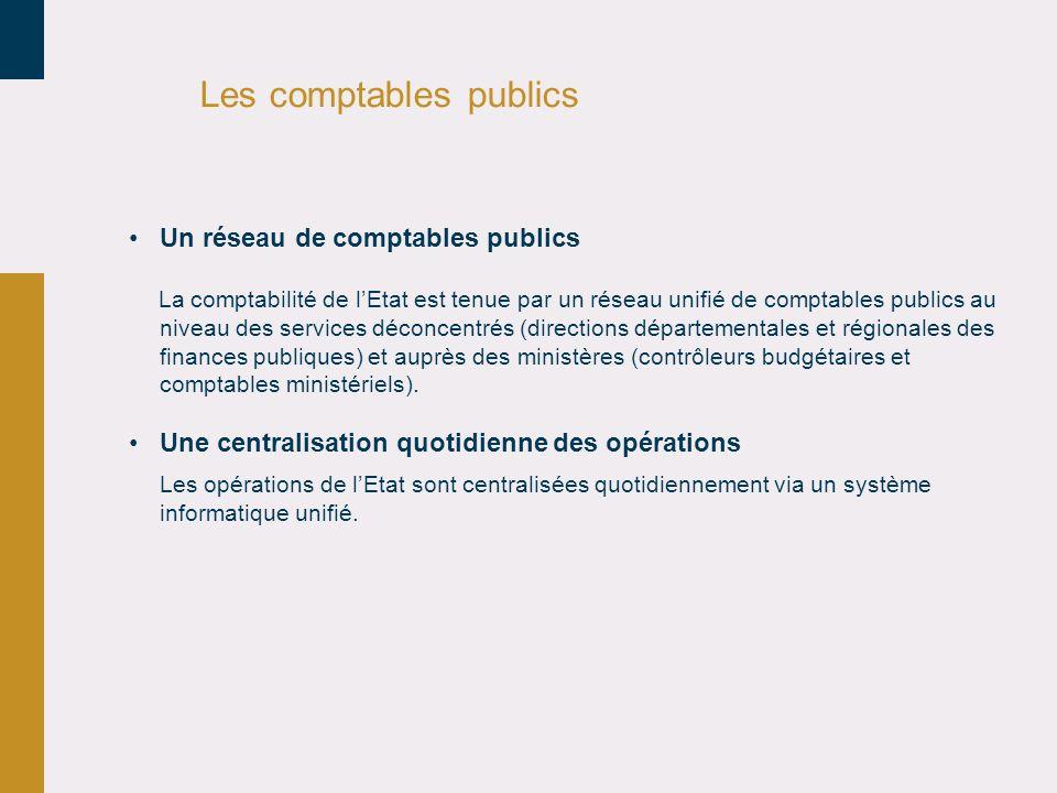 Les comptables publics Un réseau de comptables publics La comptabilité de lEtat est tenue par un réseau unifié de comptables publics au niveau des ser