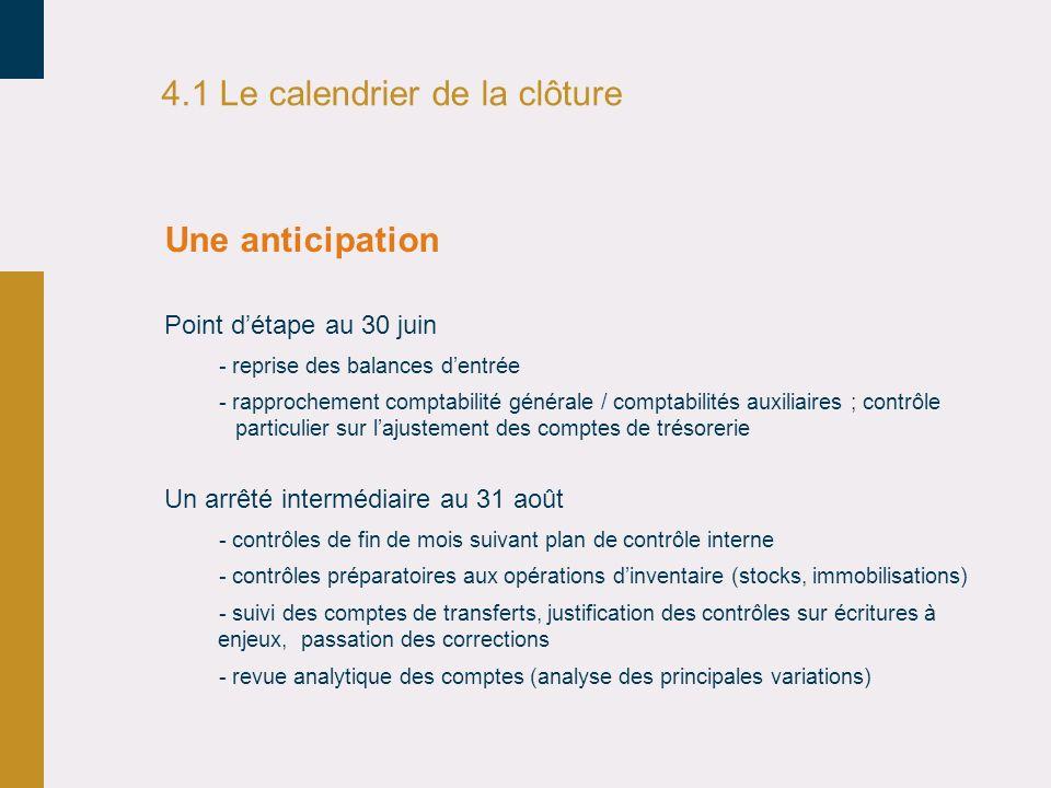 4.1 Le calendrier de la clôture Un arrêté intermédiaire au 31 août - contrôles de fin de mois suivant plan de contrôle interne - contrôles préparatoir