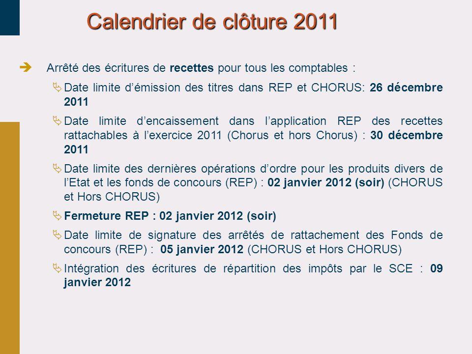 Calendrier de clôture 2011 Arrêté des écritures de recettes pour tous les comptables : Date limite démission des titres dans REP et CHORUS: 26 décembr