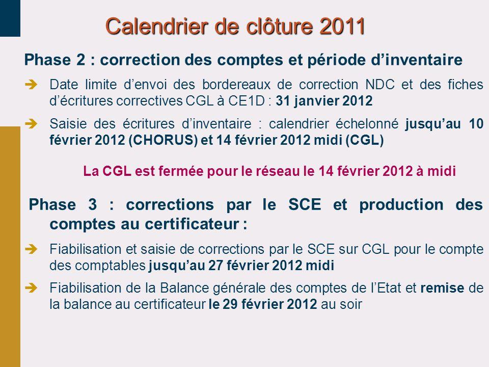 Phase 2 : correction des comptes et période dinventaire Date limite denvoi des bordereaux de correction NDC et des fiches décritures correctives CGL à