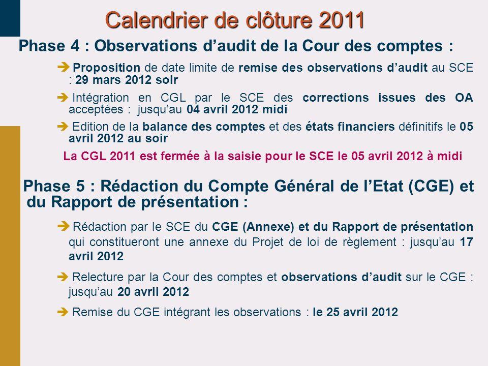 Phase 4 : Observations daudit de la Cour des comptes : Proposition de date limite de remise des observations daudit au SCE : 29 mars 2012 soir Intégra