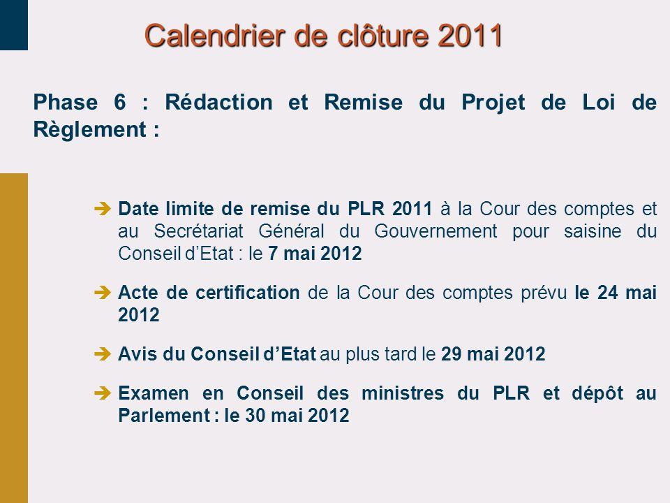 Phase 6 : Rédaction et Remise du Projet de Loi de Règlement : Date limite de remise du PLR 2011 à la Cour des comptes et au Secrétariat Général du Gou
