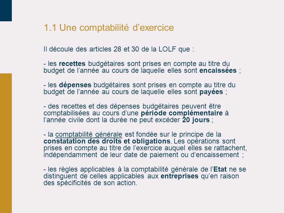 1.1 Une comptabilité dexercice Il découle des articles 28 et 30 de la LOLF que : - les recettes budgétaires sont prises en compte au titre du budget d