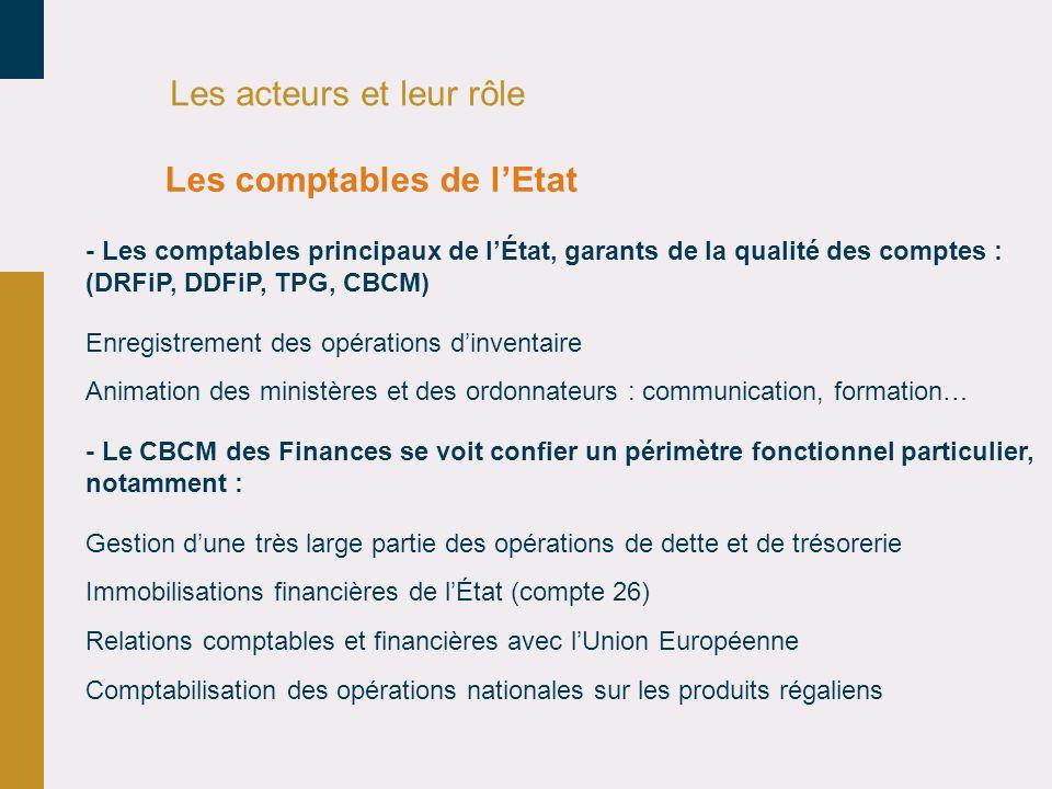 Les acteurs et leur rôle - Les comptables principaux de lÉtat, garants de la qualité des comptes : (DRFiP, DDFiP, TPG, CBCM) Enregistrement des opérat