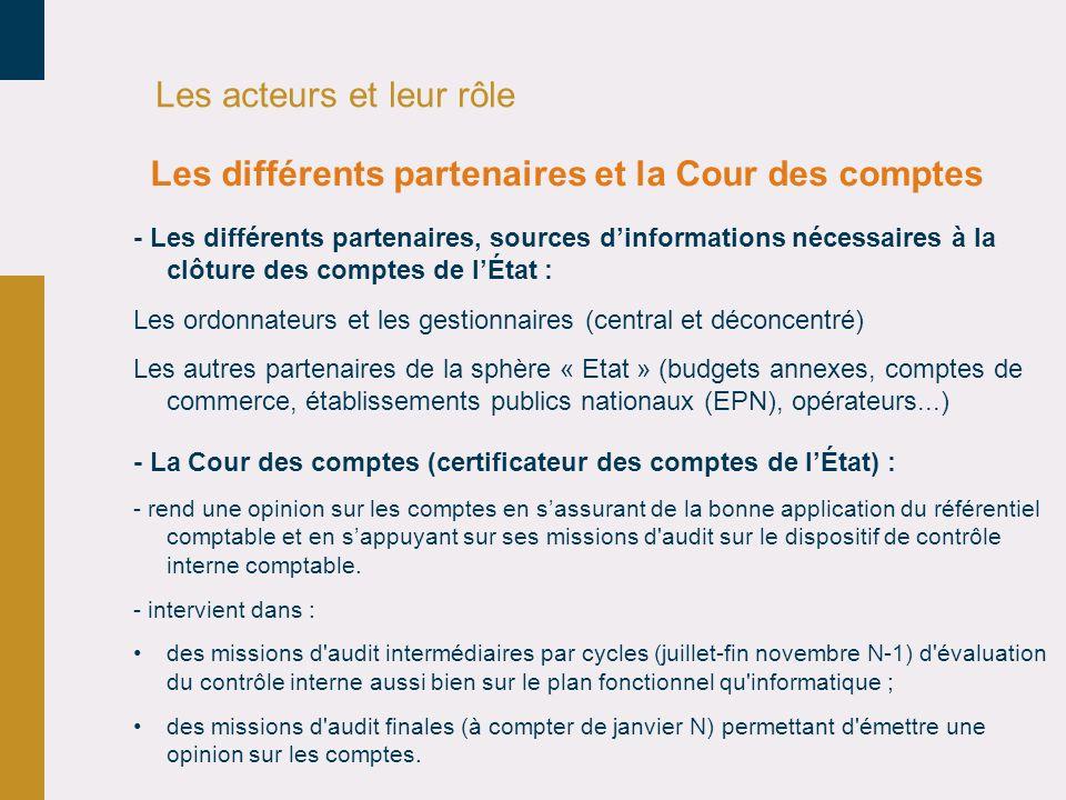 Les acteurs et leur rôle - Les différents partenaires, sources dinformations nécessaires à la clôture des comptes de lÉtat : Les ordonnateurs et les g