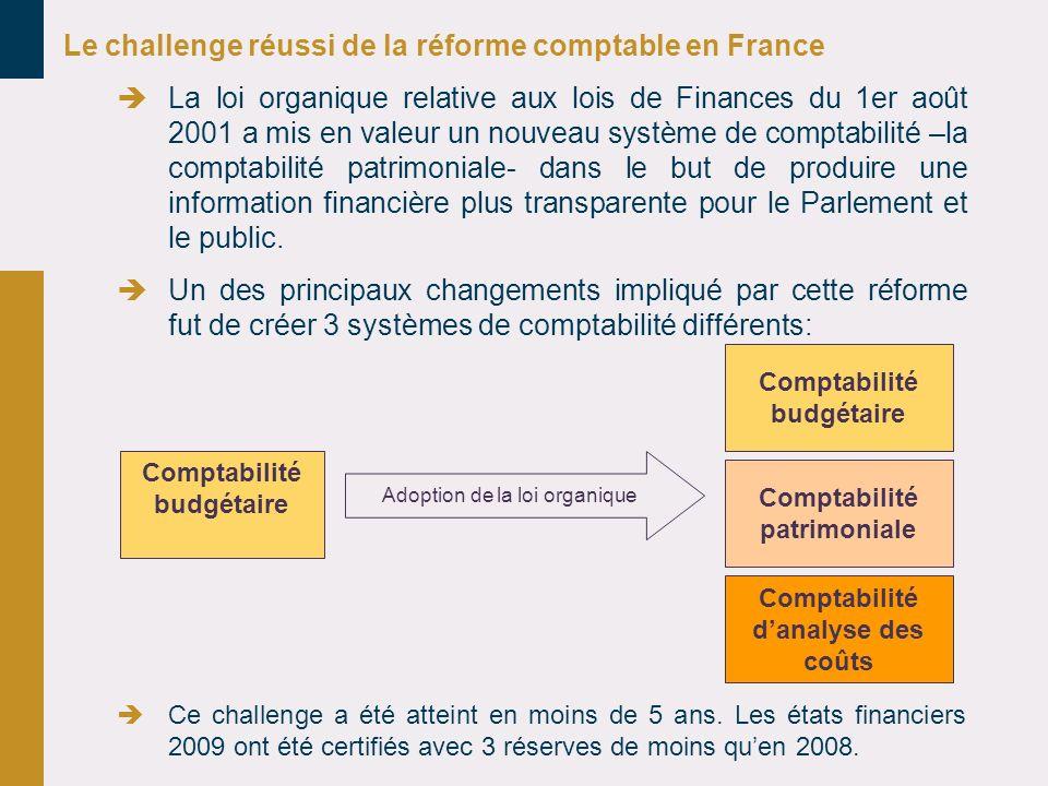 Le challenge réussi de la réforme comptable en France La loi organique relative aux lois de Finances du 1er août 2001 a mis en valeur un nouveau systè