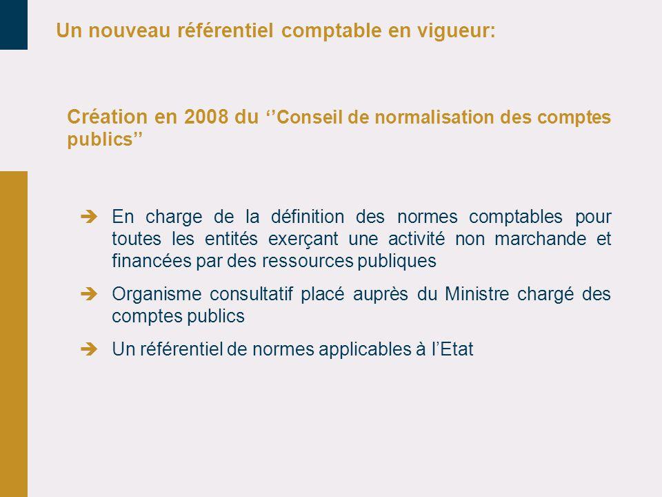 Création en 2008 du Conseil de normalisation des comptes publics En charge de la définition des normes comptables pour toutes les entités exerçant une