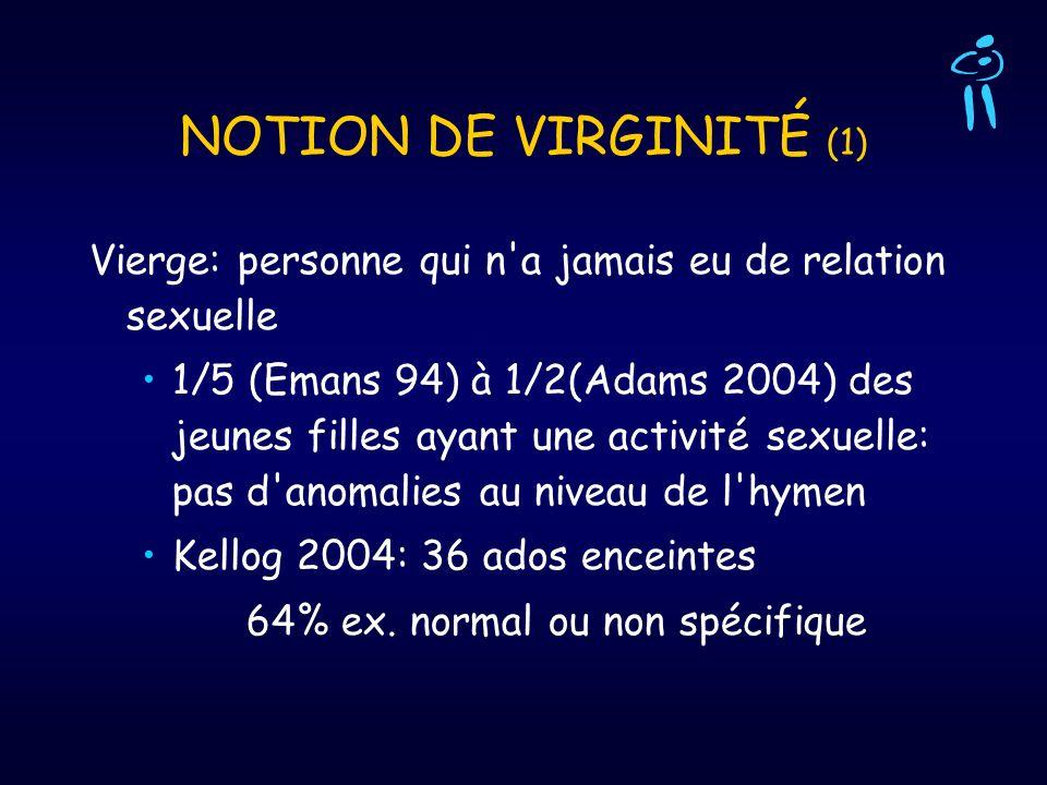 NOTION DE VIRGINITÉ (1) Vierge: personne qui n'a jamais eu de relation sexuelle 1/5 (Emans 94) à 1/2(Adams 2004) des jeunes filles ayant une activité