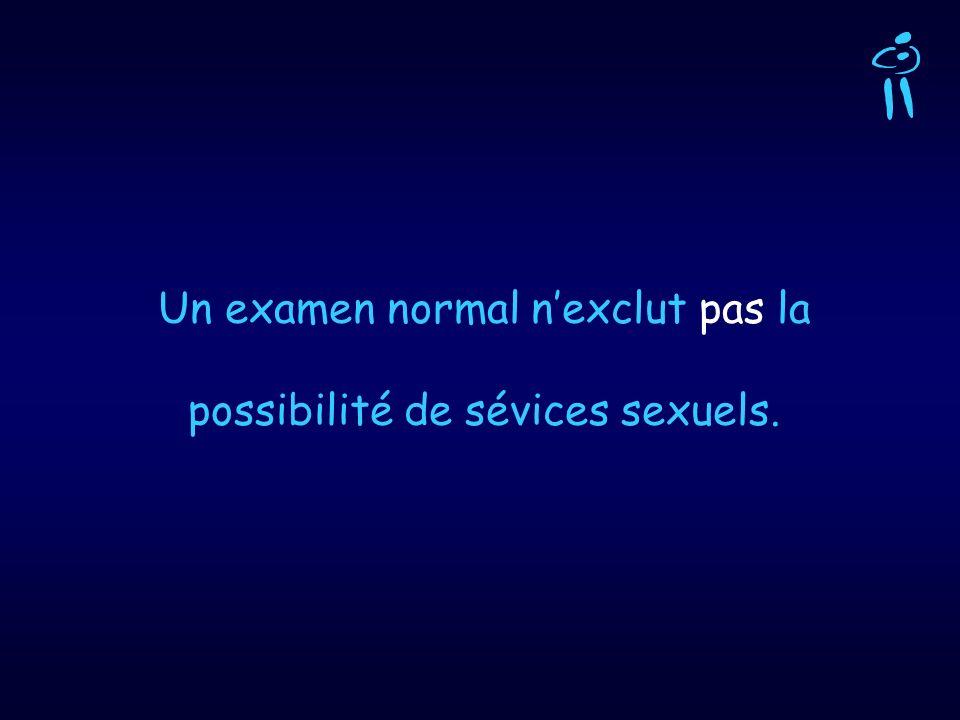 Un examen normal nexclut pas la possibilité de sévices sexuels.