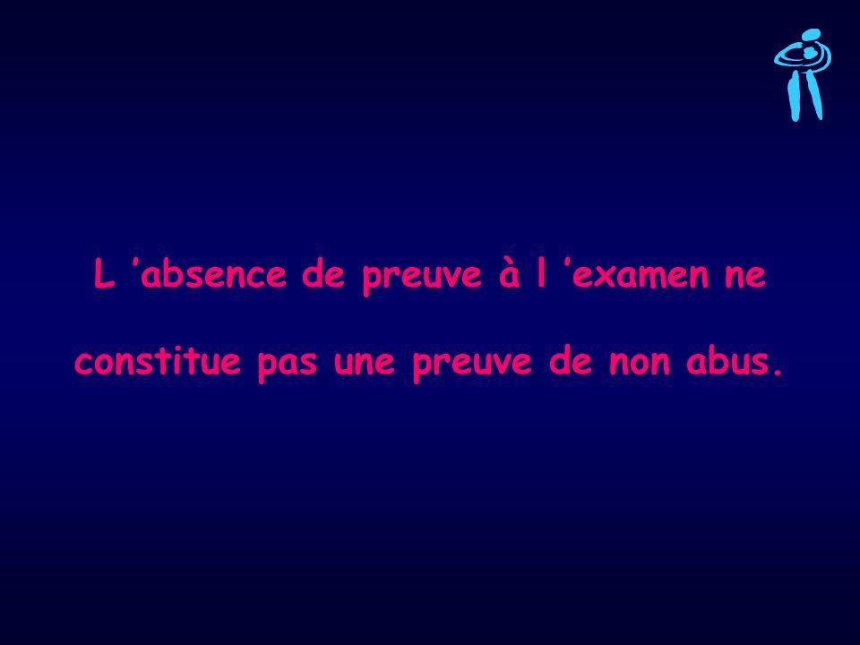 L absence de preuve à l examen ne constitue pas une preuve de non abus.