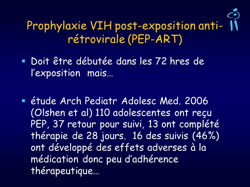 Prophylaxie VIH post-exposition anti- rétrovirale (PEP-ART) Doit être débutée dans les 72 hres de lexposition mais… étude Arch Pediatr Adolesc Med. 20