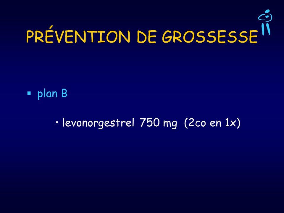 PRÉVENTION DE GROSSESSE plan B levonorgestrel 750 mg (2co en 1x)