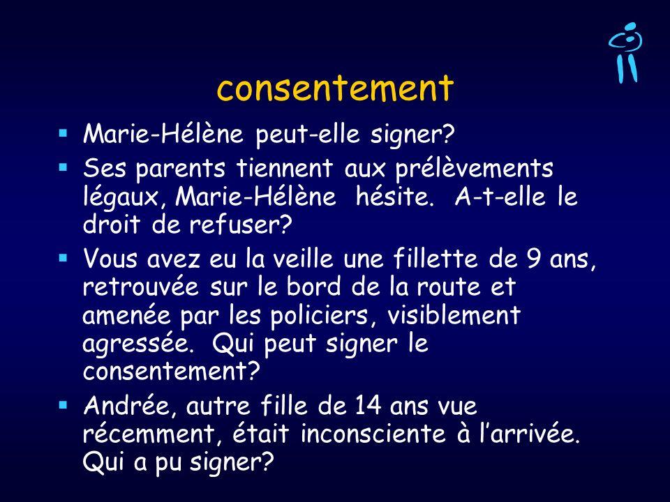consentement Marie-Hélène peut-elle signer? Ses parents tiennent aux prélèvements légaux, Marie-Hélène hésite. A-t-elle le droit de refuser? Vous avez
