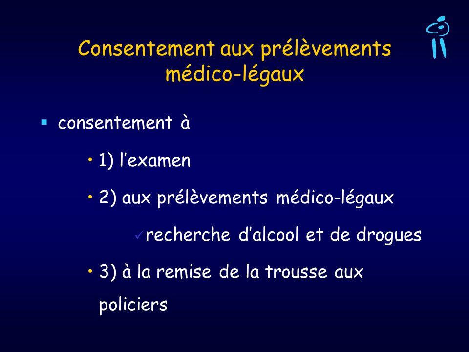 Consentement aux prélèvements médico-légaux consentement à 1) lexamen 2) aux prélèvements médico-légaux recherche dalcool et de drogues 3) à la remise