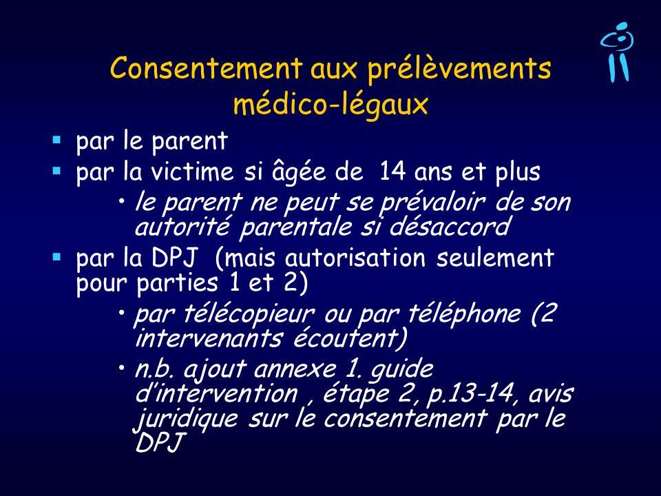 Consentement aux prélèvements médico-légaux par le parent par la victime si âgée de 14 ans et plus le parent ne peut se prévaloir de son autorité pare