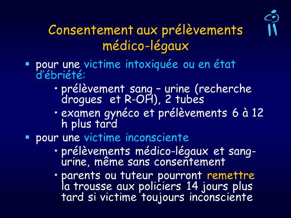 Consentement aux prélèvements médico-légaux pour une victime intoxiquée ou en état débriété: prélèvement sang – urine (recherche drogues et R-OH), 2 t