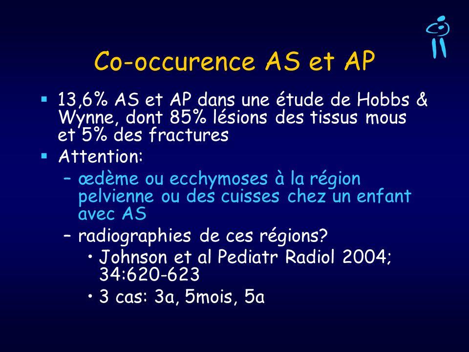 Co-occurence AS et AP 13,6% AS et AP dans une étude de Hobbs & Wynne, dont 85% lésions des tissus mous et 5% des fractures Attention: –œdème ou ecchym
