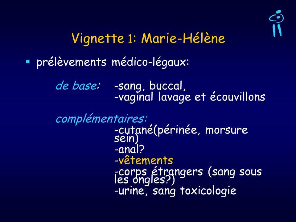 Vignette 1 : Marie-Hélène prélèvements médico-légaux: de base: -sang, buccal, -vaginal lavage et écouvillons complémentaires: -cutané(périnée, morsure
