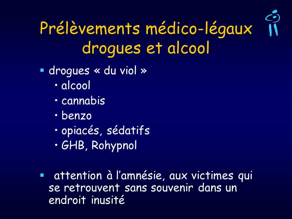 Prélèvements médico-légaux drogues et alcool drogues « du viol » alcool cannabis benzo opiacés, sédatifs GHB, Rohypnol attention à lamnésie, aux victi