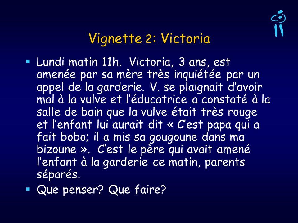 Vignette 2 : Victoria Lundi matin 11h. Victoria, 3 ans, est amenée par sa mère très inquiétée par un appel de la garderie. V. se plaignait davoir mal
