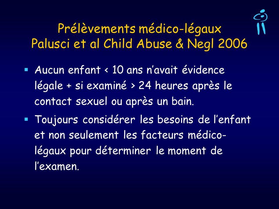 Prélèvements médico-légaux Palusci et al Child Abuse & Negl 2006 Aucun enfant 24 heures après le contact sexuel ou après un bain. Toujours considérer