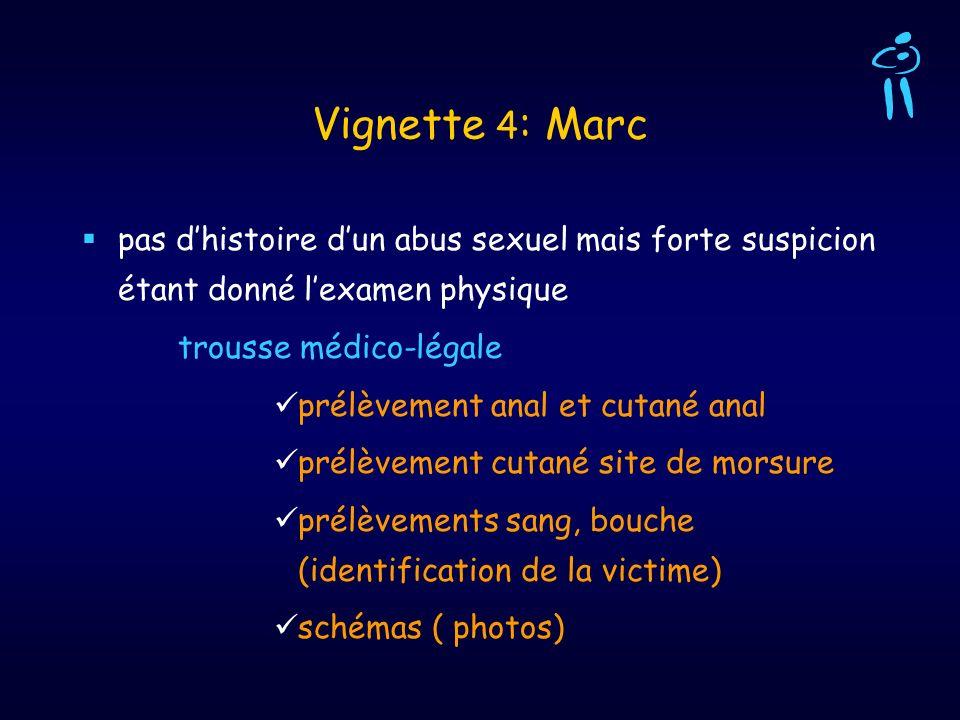 Vignette 4 : Marc pas dhistoire dun abus sexuel mais forte suspicion étant donné lexamen physique trousse médico-légale prélèvement anal et cutané ana