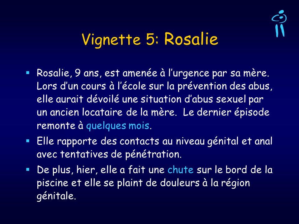 Vignette 5: Rosalie Rosalie, 9 ans, est amenée à lurgence par sa mère. Lors dun cours à lécole sur la prévention des abus, elle aurait dévoilé une sit