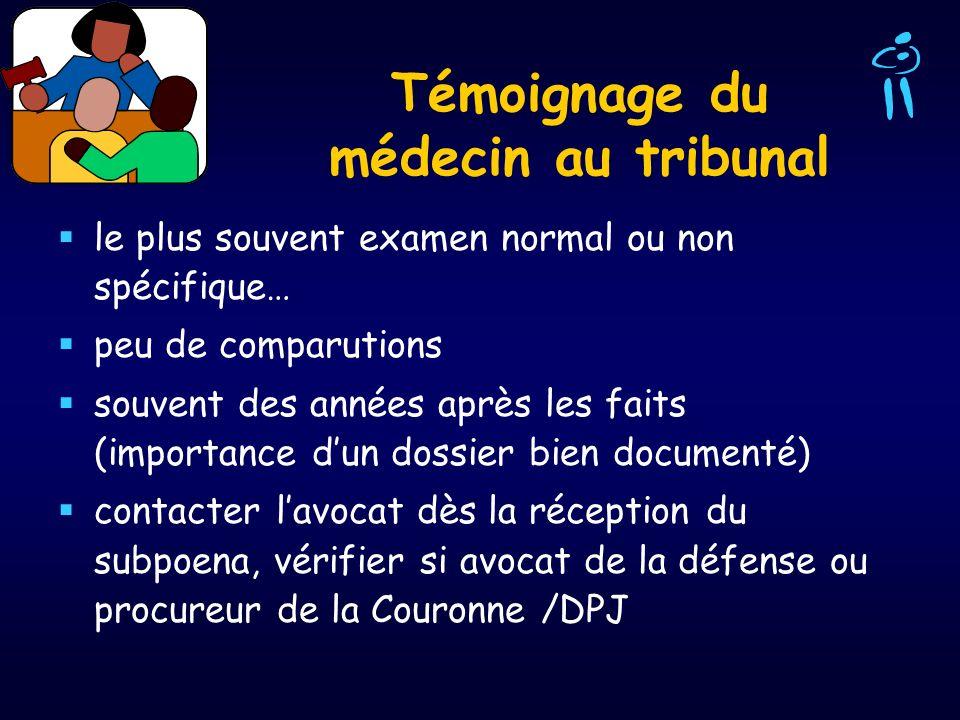 Témoignage du médecin au tribunal le plus souvent examen normal ou non spécifique… peu de comparutions souvent des années après les faits (importance