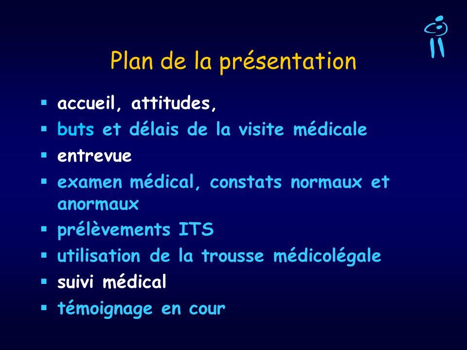 Plan de la présentation accueil, attitudes, buts et délais de la visite médicale entrevue examen médical, constats normaux et anormaux prélèvements IT