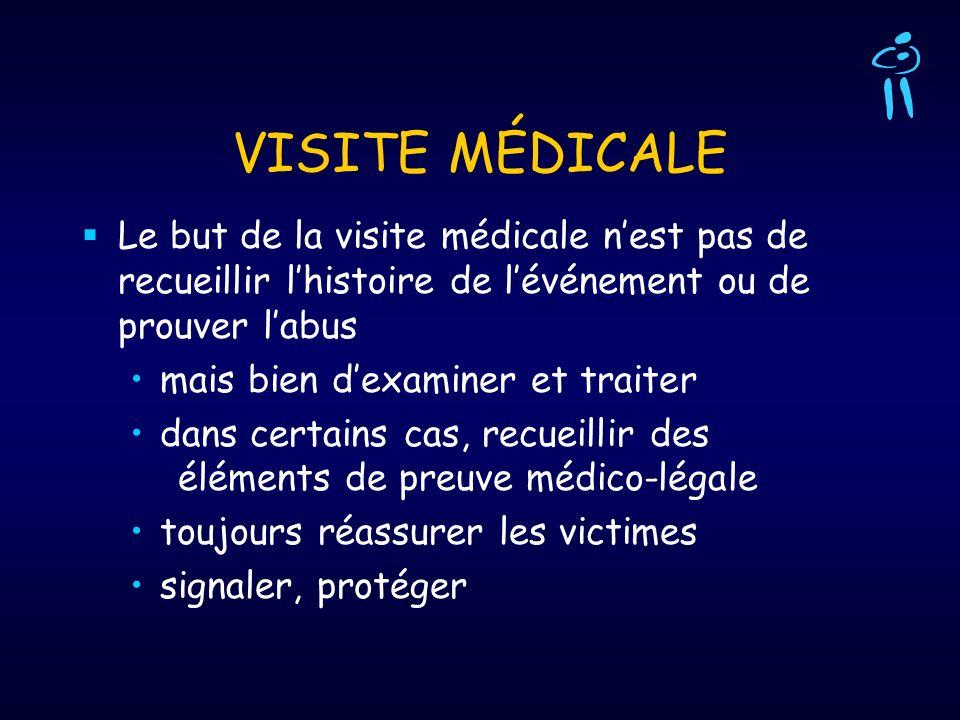 VISITE MÉDICALE Le but de la visite médicale nest pas de recueillir lhistoire de lévénement ou de prouver labus mais bien dexaminer et traiter dans ce