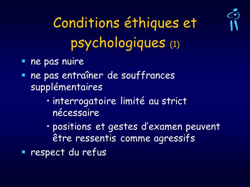 Conditions éthiques et psychologiques (1) ne pas nuire ne pas entraîner de souffrances supplémentaires interrogatoire limité au strict nécessaire posi