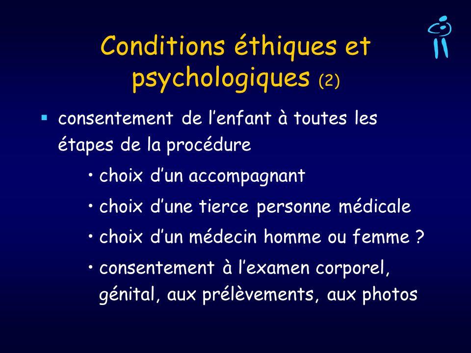 Conditions éthiques et psychologiques (2) consentement de lenfant à toutes les étapes de la procédure choix dun accompagnant choix dune tierce personn