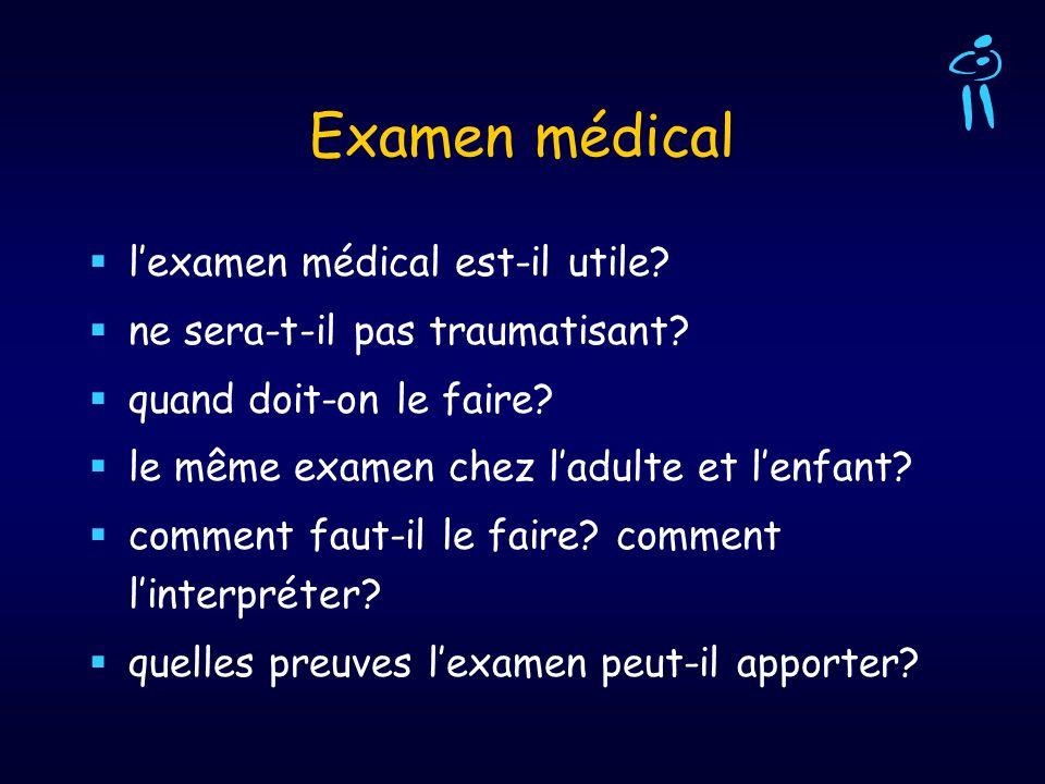 Examen médical lexamen médical est-il utile? ne sera-t-il pas traumatisant? quand doit-on le faire? le même examen chez ladulte et lenfant? comment fa