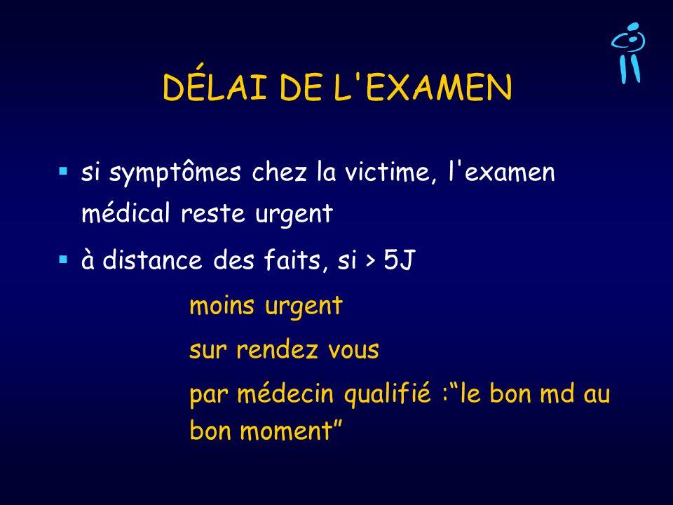 DÉLAI DE L'EXAMEN si symptômes chez la victime, l'examen médical reste urgent à distance des faits, si > 5J moins urgent sur rendez vous par médecin q
