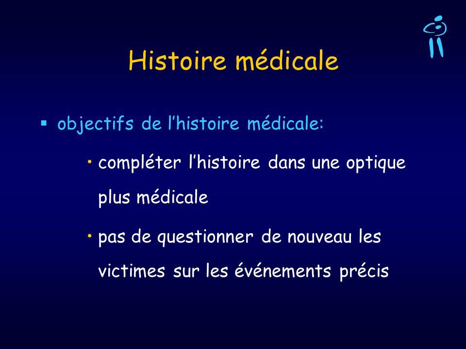 objectifs de lhistoire médicale: compléter lhistoire dans une optique plus médicale pas de questionner de nouveau les victimes sur les événements préc