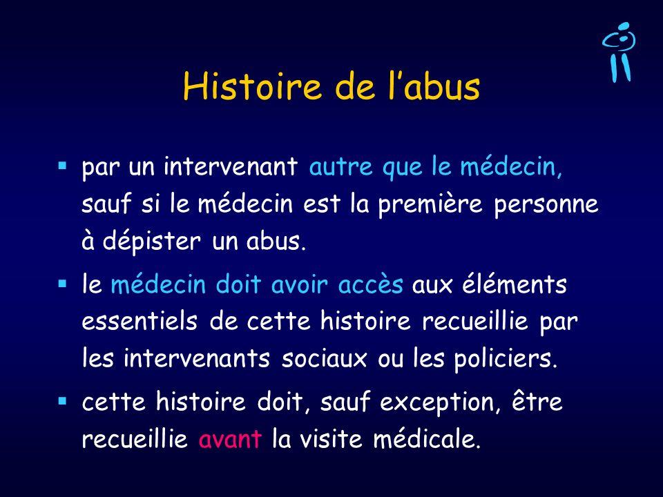 Histoire de labus par un intervenant autre que le médecin, sauf si le médecin est la première personne à dépister un abus. le médecin doit avoir accès
