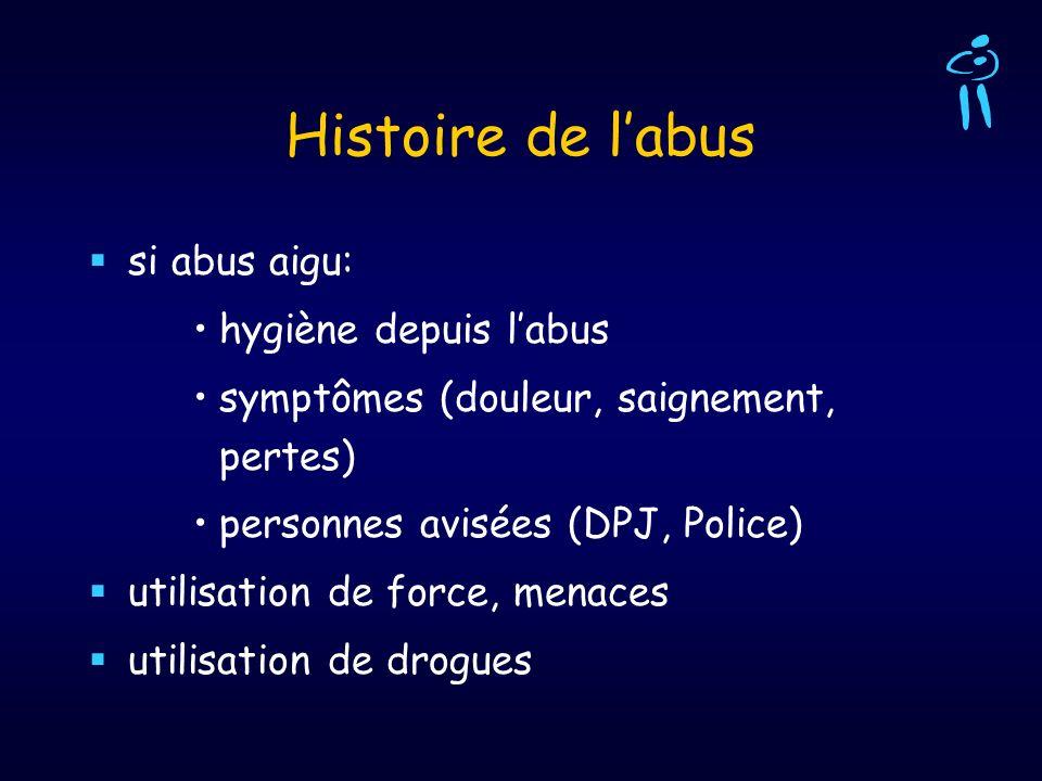 Histoire de labus si abus aigu: hygiène depuis labus symptômes (douleur, saignement, pertes) personnes avisées (DPJ, Police) utilisation de force, men