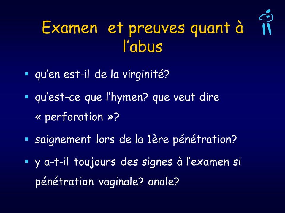 Examen et preuves quant à labus quen est-il de la virginité? quest-ce que lhymen? que veut dire « perforation »? saignement lors de la 1ère pénétratio