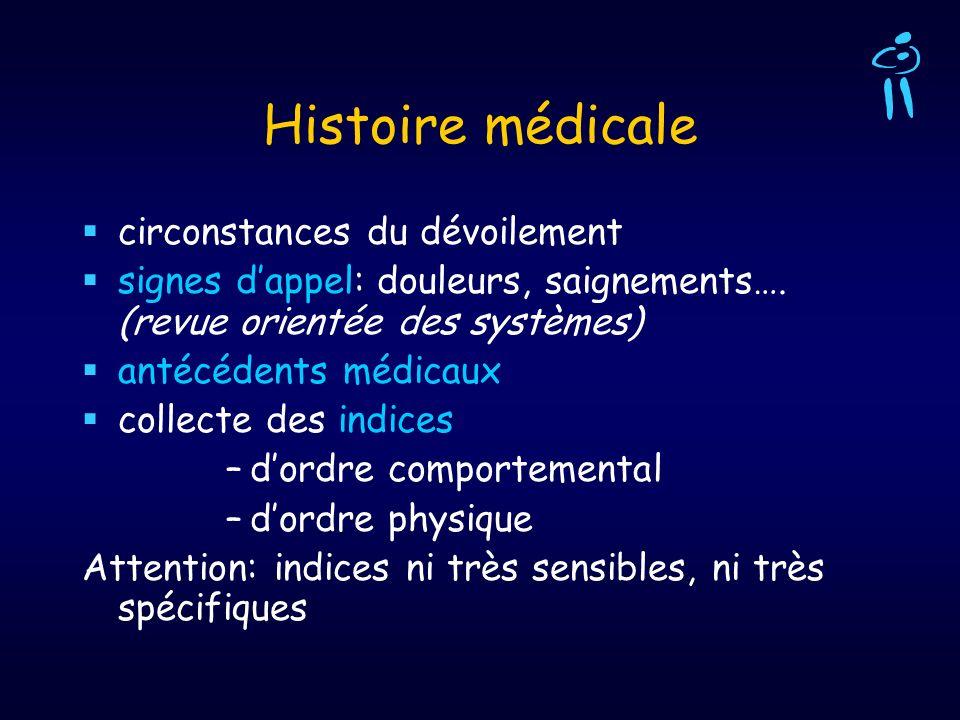 Histoire médicale circonstances du dévoilement signes dappel: douleurs, saignements…. (revue orientée des systèmes) antécédents médicaux collecte des