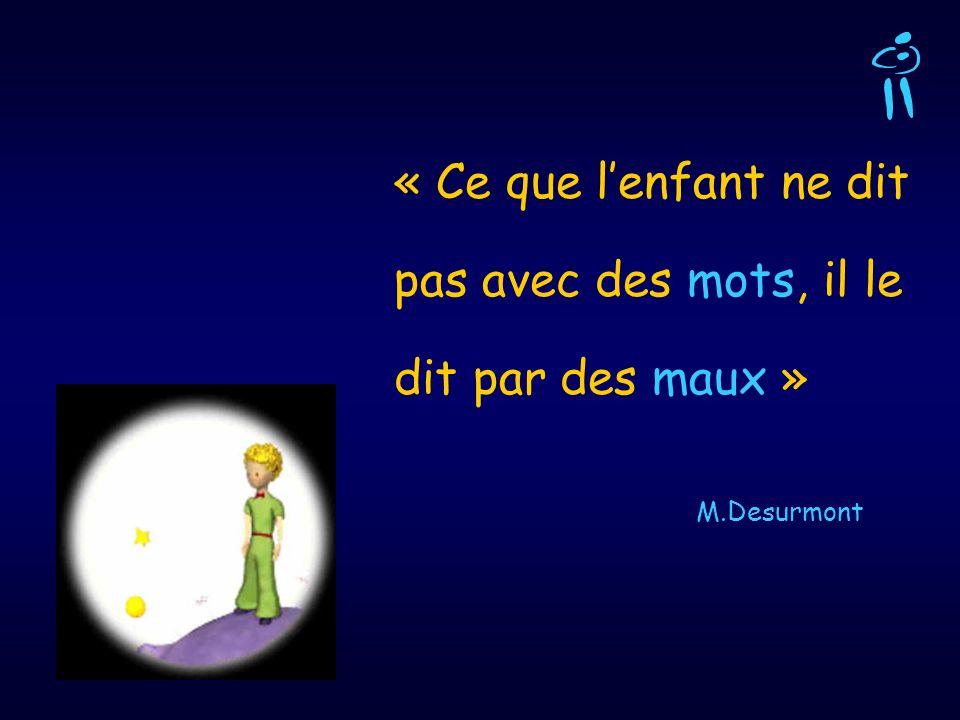 « Ce que lenfant ne dit pas avec des mots, il le dit par des maux » M.Desurmont