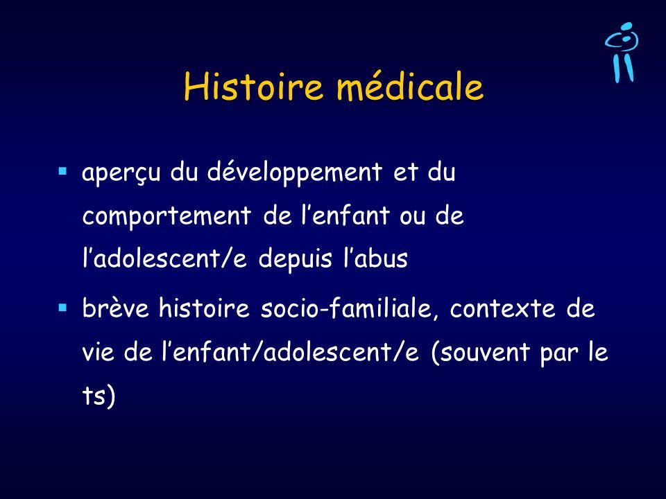 Histoire médicale aperçu du développement et du comportement de lenfant ou de ladolescent/e depuis labus brève histoire socio-familiale, contexte de v